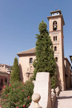 Church of Saint Gil and Saint Anne in Granada. This Reinassance church was built in1537 over an old mosque, which minaret was used as bell tower.