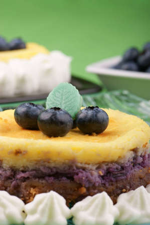 Close-up of a blueberry cheese cake  Selective focus, shallow DOF Stock Photo