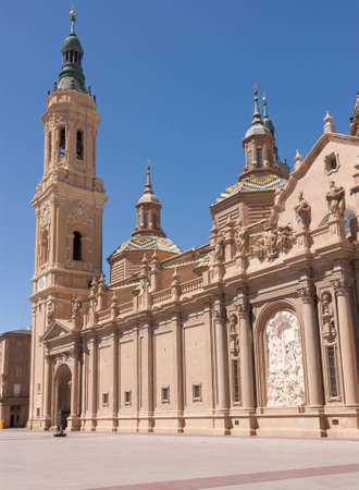 Our Lady of the Pillar Basilica in Zaragoza, Spain  The construction of the present baroque church was begun in 1681 by the King Charles II Stock Photo