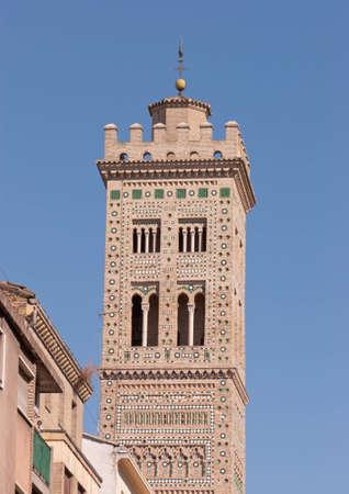 Bell tower of Santa Maria Magdalena church in Zaragoza