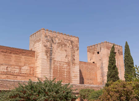 Surrounding walls of the Alcazaba, also called citadel, the oldest part of the Alhambra, in Granada  Nowadays the Alhambra is one of the most visited Spanish monument Stock Photo