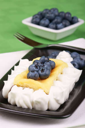 Cheese cake decorated with blueberries and whipped cream served on a black plate  Blueberries are out of focus in the background