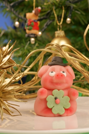 The  Gluecksschwein  is a lucky symbol in Germany  It is made of marzipan and usually given at New Year Stock Photo