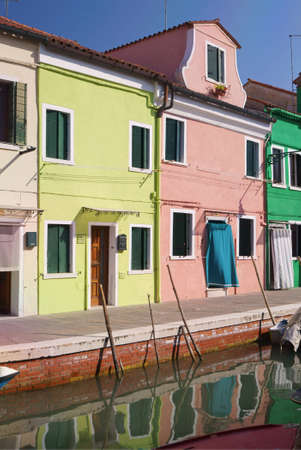Colourful houses in Burano Island, Venice. The brightly-painted houses and the laceworks are the main attractions of this Venetian island. Editorial