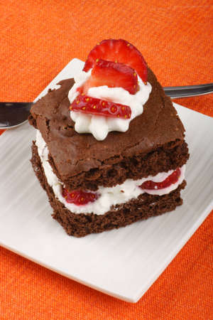 Fancy strawberry brownie with whipped cream served on a white plate