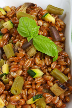 Spelt salad with eggplants, zucchini and green beans served in a white plate  Selective focus, shallow DOF Stock Photo