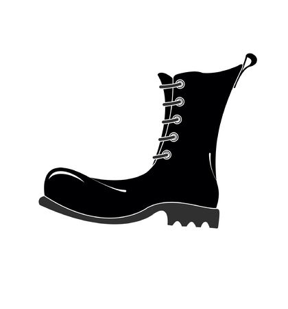 Army boots high. Illustration