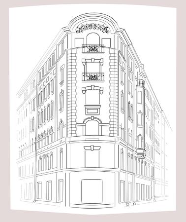 corner of house: Sketch. Corner House. Illustration