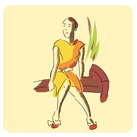 girl: sitting girl Illustration