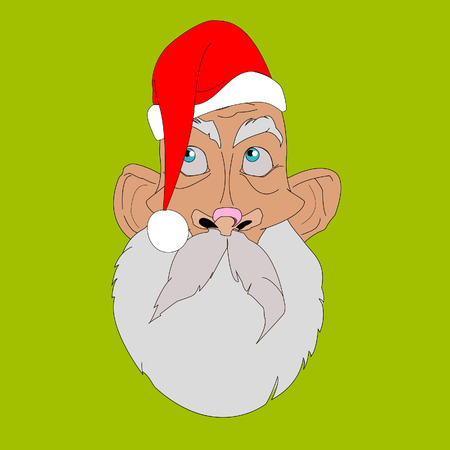 eyes looking up: Face and head Santa Claus. Facial expressions. Looks up. Its not me .Cartoon Illustration