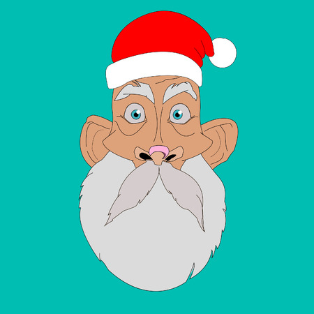 cheesy: Face and head Santa Claus. Facial expressions. Surprise. But the blue background. Cartoon