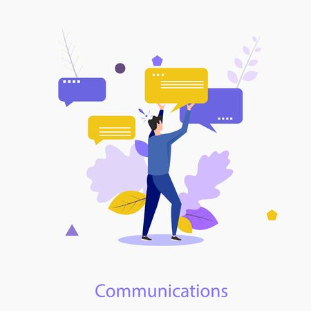 Cute man holding speech bubble or message notification. Creative concept of internet communication, online conversation on social network, instant messaging, chatting. Modern flat vector illustration.