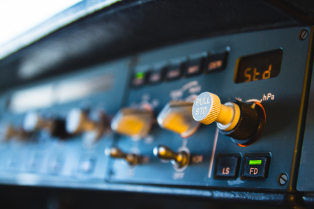 Airbus A320 autopilot instrument panel and controls. Flight Control Unit (FCU) with knobs, dials and buttons.