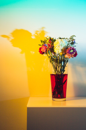 gels: Flowers just starting to wilt in a tall transparent vase and red water in front of a white wall colored yellow and teal with speedlights and gels.
