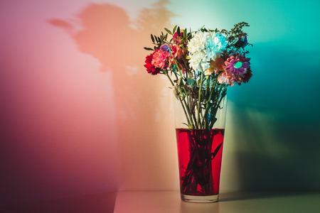 wilting: Flowers just starting to wilt in a tall transparent vase and red water in front of a white wall colored a number of colors with speedlights and gels.