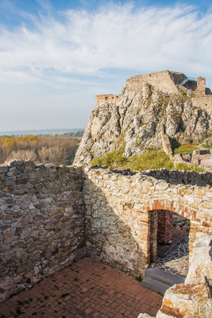Devin Castle, just outside Bratislava, Slovakia. The castle lies at the confluence of the Morava and Danube rivers. Editorial