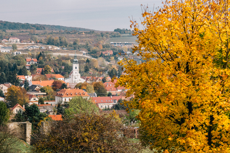 bratislava: The  village of Devin and the church of the Holy Cross as seen from the hills around Devin Castle. Stock Photo