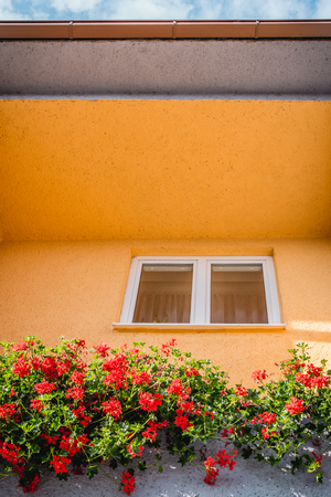 Window surrounded with yellow walls and flowers, blue sky.