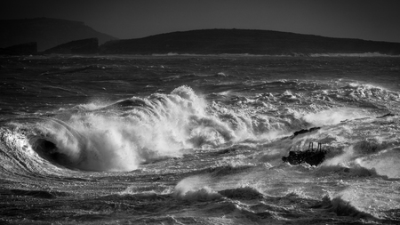 Black and white: Rough seas captured in Hondoq ir Rummien, Gozo during the stormy weekend of the 18th of December, 2016.