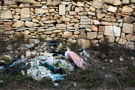 disposed: Rubbish dumped by the side of the road in the Maltese countryside.