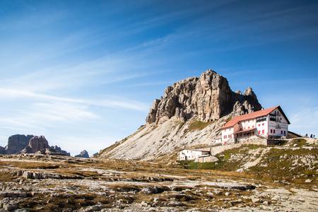Rifugio Locatelli, Drei Zinnen Natural park, Italian Dolomites on a stunningly beautiful day in early autumn.
