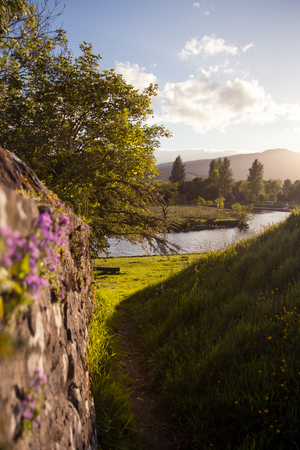 peaceful scene landscape in the scottish town of Callander in the scottish highlands and close to the trossachs national park Stock Photo