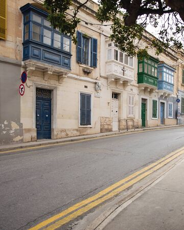 row of traditional maltese houses in Sliema