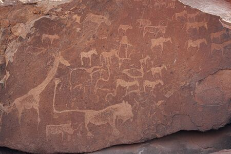 Bushman engravings at Twyfelfontein,    site, Damaraland, Kuene Region, Namibia Stock Photo