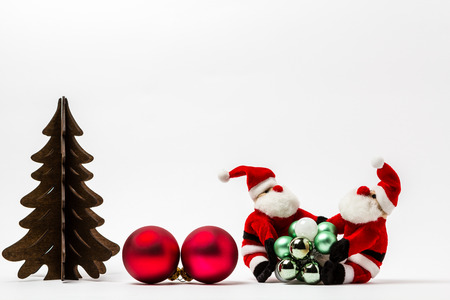 clauses: Two Santa Clauses with Christmas decorations Stock Photo