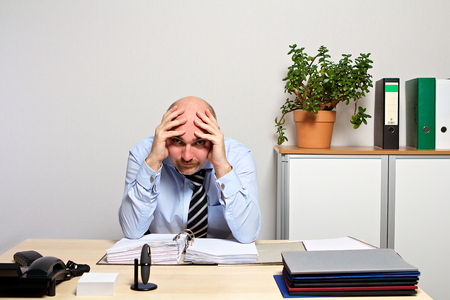 listless: no way out for desperate manager Stock Photo