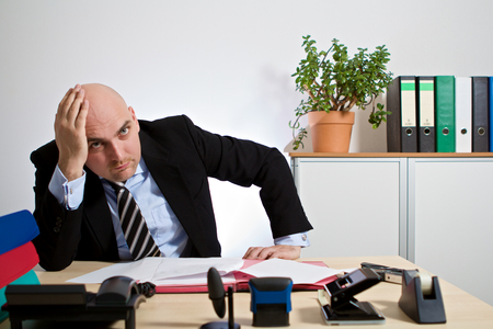 freak out: Manager has a mental breakdown Stock Photo
