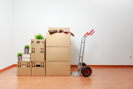 cardboards at the new home with cart  스톡 콘텐츠