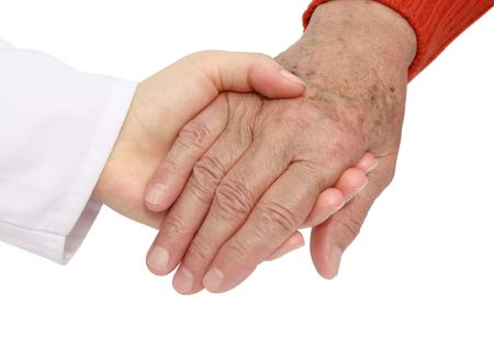 Adult helping senior in hospital Stock Photo - 7419853