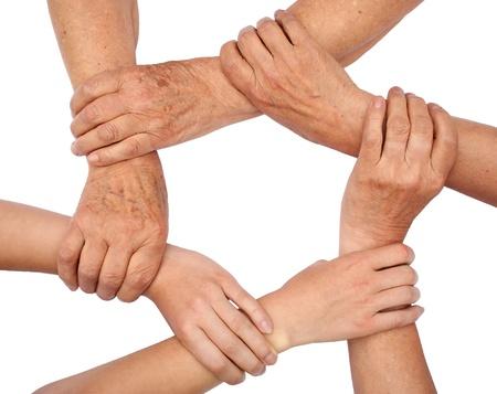 saludo de manos: Anillo de manos de trabajo en equipo Foto de archivo