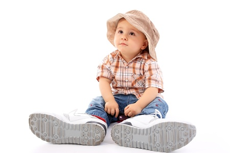 big and small: Cute child  Stock Photo
