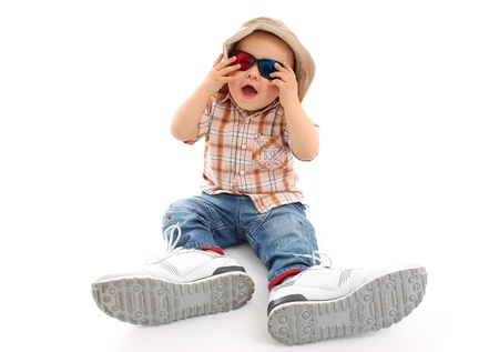 big game: Child with 3D glasses