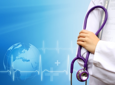 Doctor with medical blue background photo