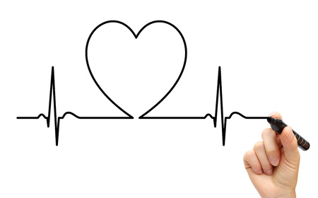 heart rate: Drawing ECG line Stock Photo