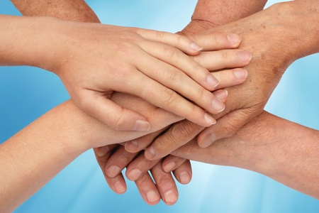 Hands on top of each other in nature Stock Photo - 9092954