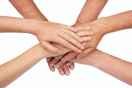 mani unite: Mani sulla parte superiore di ogni altro isolato