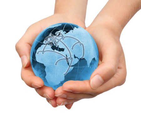 hand holding world: Holding Earth