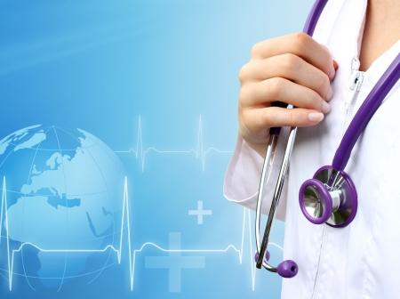enfermeras: Enfermera con fondo azul m�dica