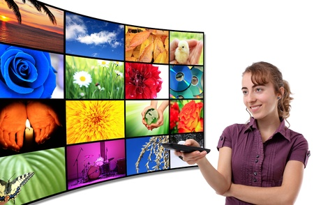 video cables: Tv-Panel with a woman