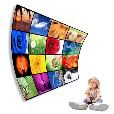 big screen: Cute child with big Tv