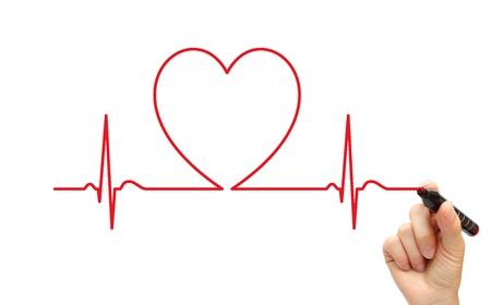 cardiovascular: Hand drawing ECG line