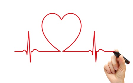 of electrocardiogram: L�nea de ECG dibujo de mano