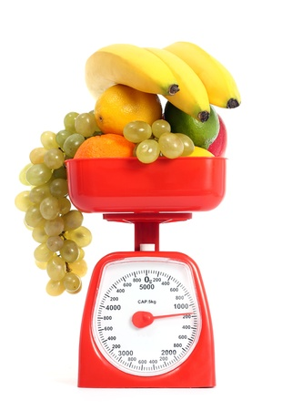 kg: Healthy fruits with scale