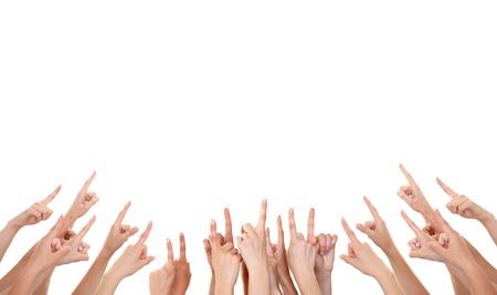 Hände zeigen Produkt isoliert Standard-Bild