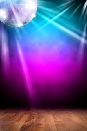 Fond de disco avec discoball Banque d'images