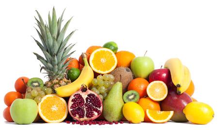 mixed fruits: Assortment of fruits isolated on white Stock Photo